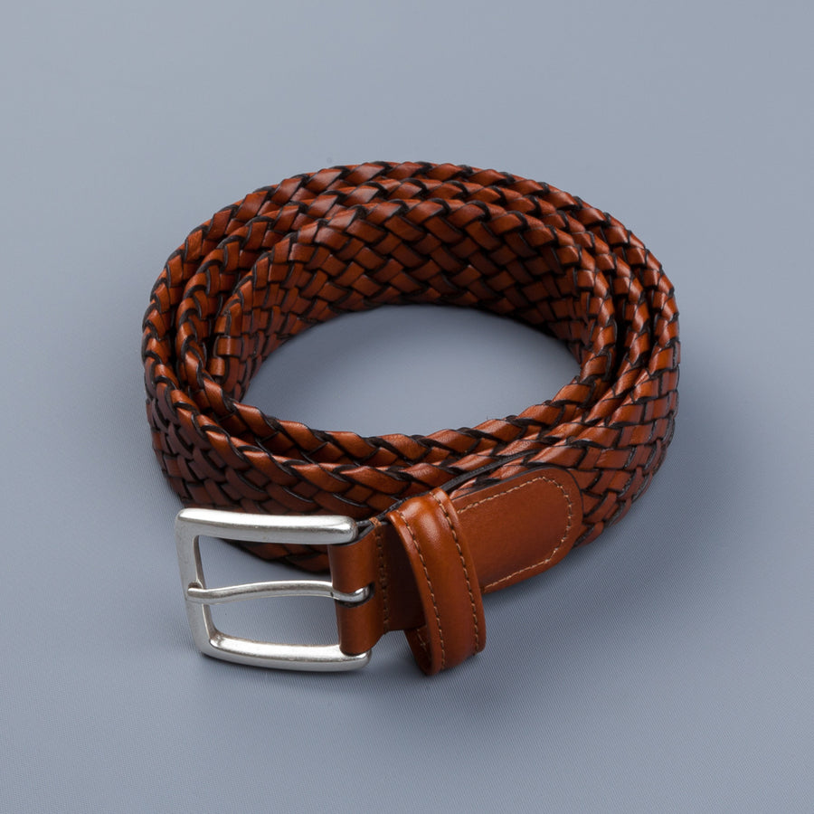 Anderson's Tubular Handwoven Leather Belt Tan