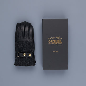 Orgueil Long Leather Gloves OR-7107 Black
