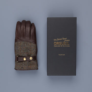 Orgueil Long Leather Gloves OR-7107 Brown