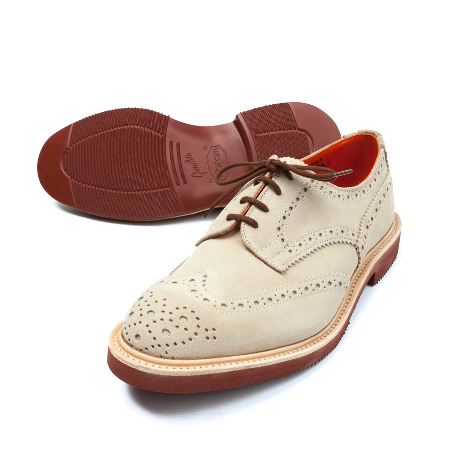 Trickers for Frans Boone Oatmeal repello suede derby brogues