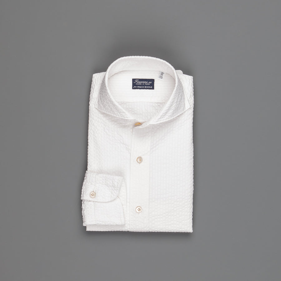 Finamore Gaeta shirt collo Sergio off white seersucker white