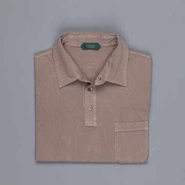 Zanone Pima cotton short sleeve polo brown