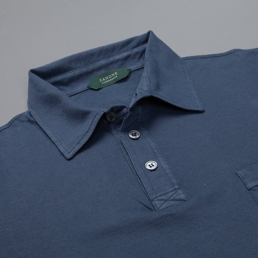 Zanone Pima cotton short sleeve polo blu