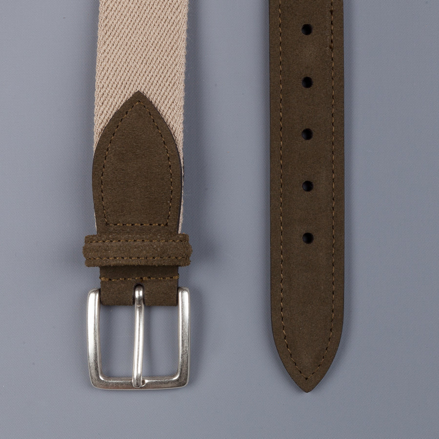 Anderson's x Frans Boone Woven Belt Tan - Olive Suede