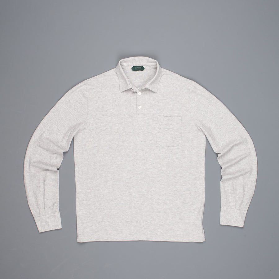 Zanone Polo longsleeve ice cotton grey melange