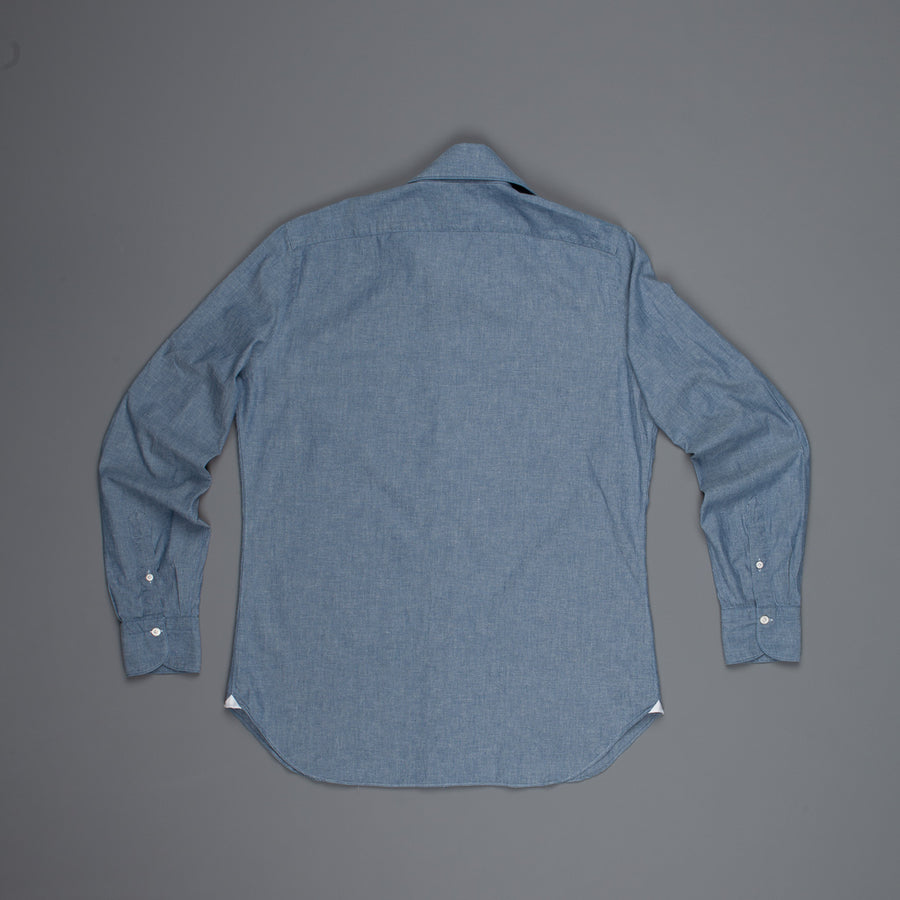 Finamore Gaeta shirt Sergio Collar Dark Blue Chambray