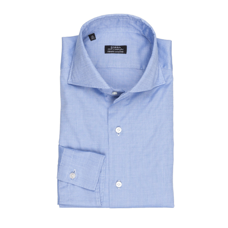 Barba slimfit shirt washed piquet mid blue