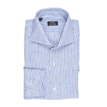 Barba blue white stripe linen slimfit shirt