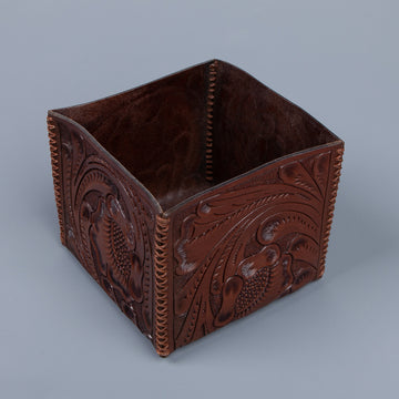 RRL Embossed leather storage box