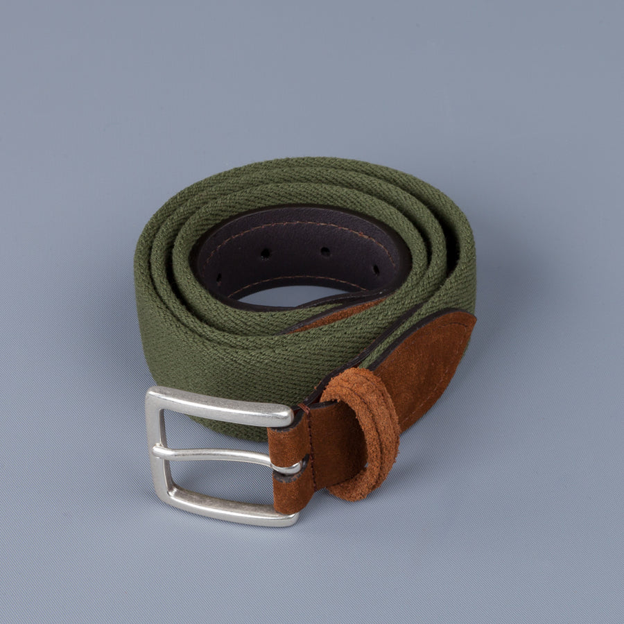 Anderson's x Frans Boone Woven Belt Olive - Snuff Suede