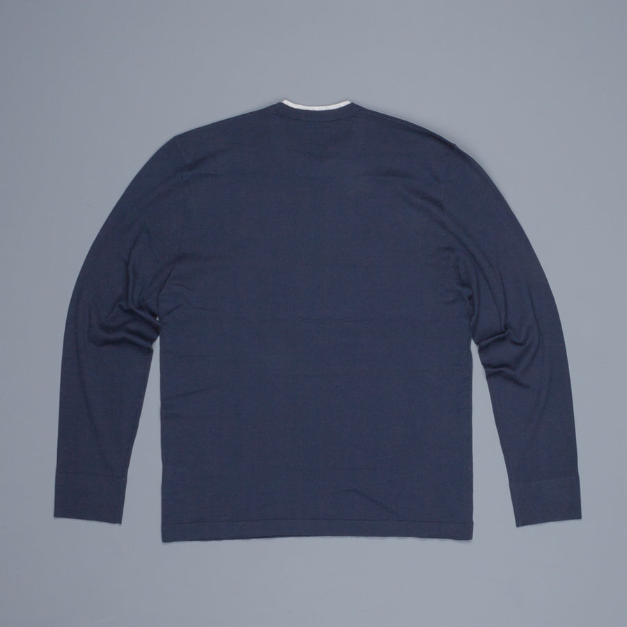 James Perse Fine Gauge Cotton Double Neckband Sweater french navy