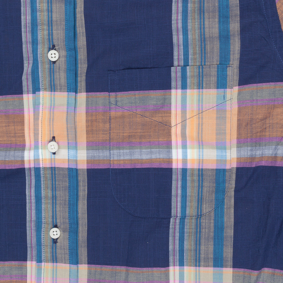 Gitman Vintage Button Down Shirt Madras Blue Salmon