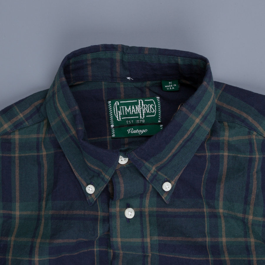 Gitman Vintage Button Down Shirt Madras Navy Holly Green
