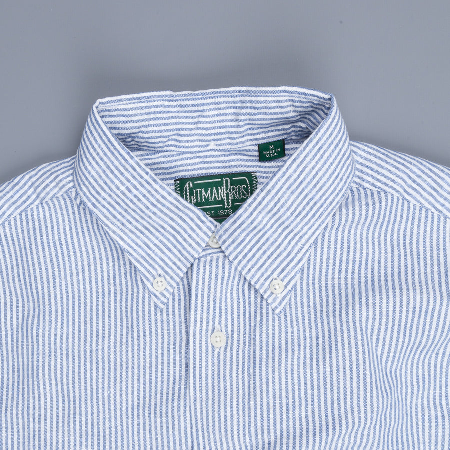 Gitman Vintage Button Down Shirt Cotton Linen Oxford Blue Stripe