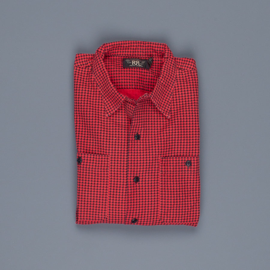RRL Monterey Camp shirt black red houndstooth