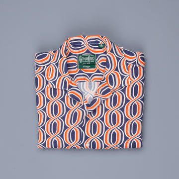 Gitman Vintage SS Camp Shirt Linen Orange Navy Print