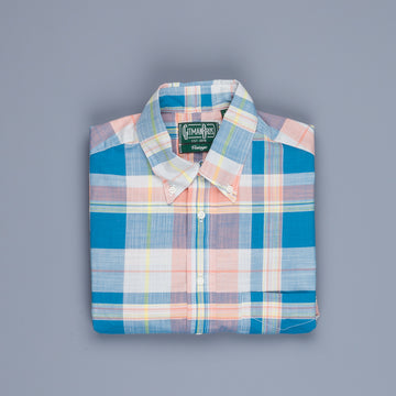 Gitman Vintage Button Down Shirt Madras Teal Pink