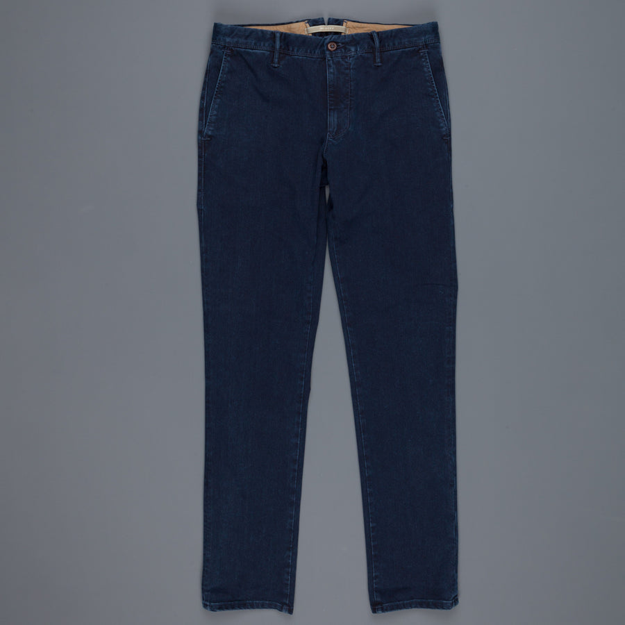 Incotex Slacks washed twill cotton pants Model 603 Indigo Dyed