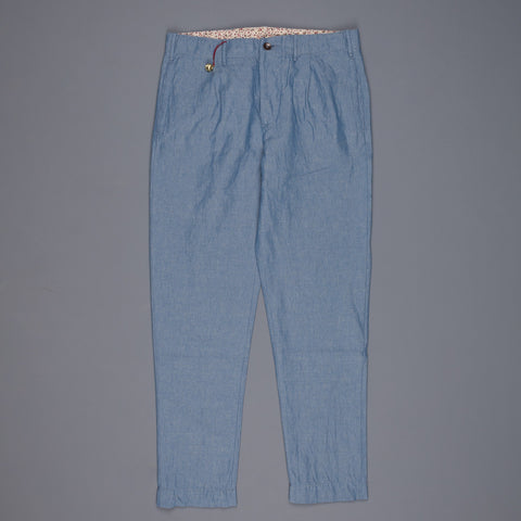 Red Incotex Model 002 cotton linen chambray pants