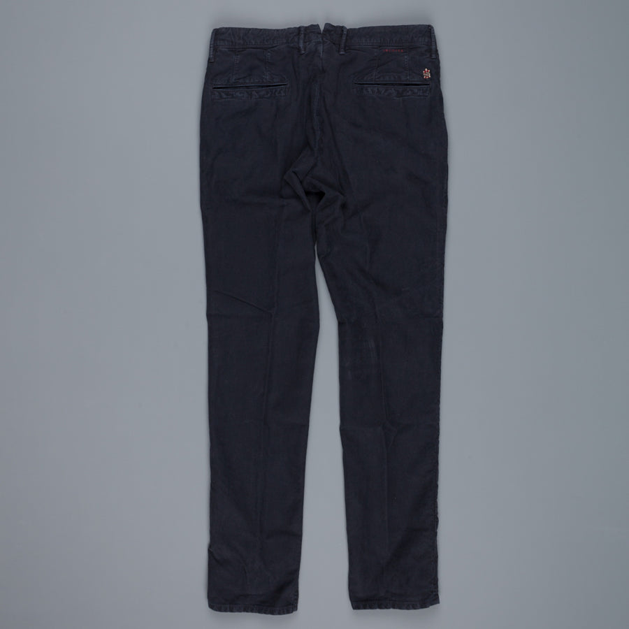Re-stock Incotex Slacks washed twill cotton pants Model 603 navy