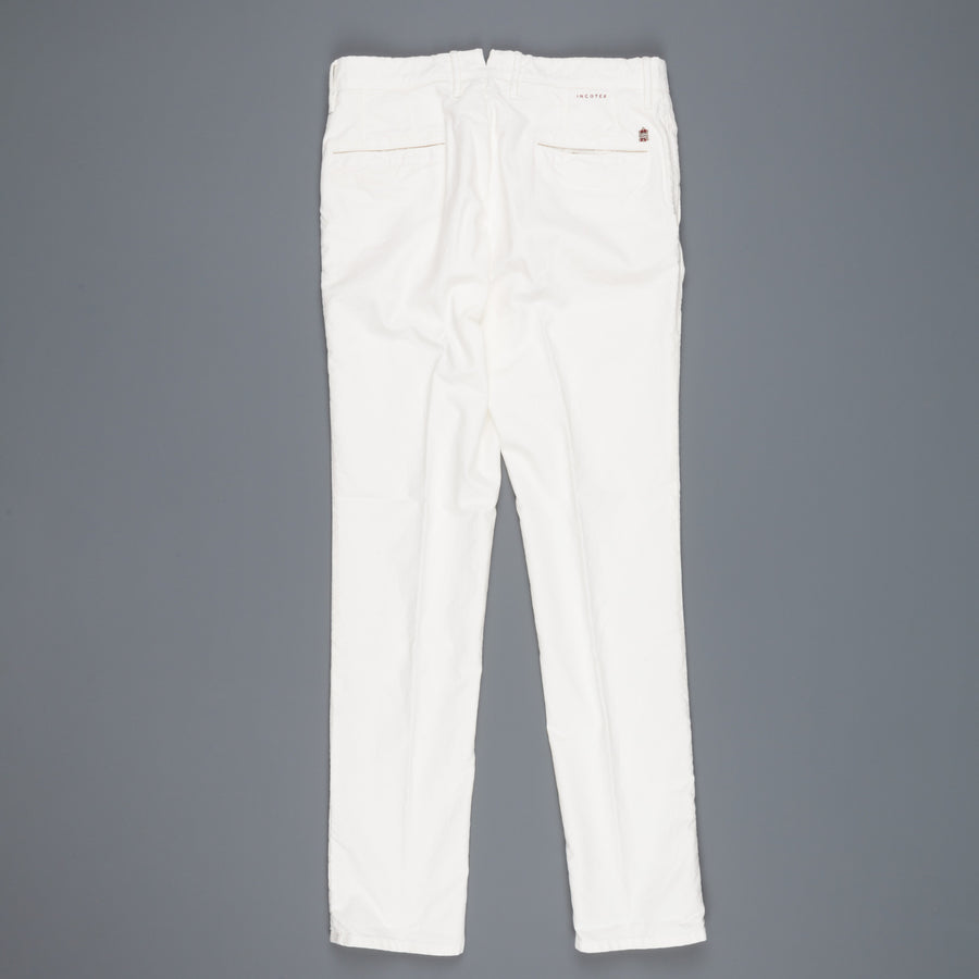 Incotex Slacks washed twill cotton pants Model 603 white