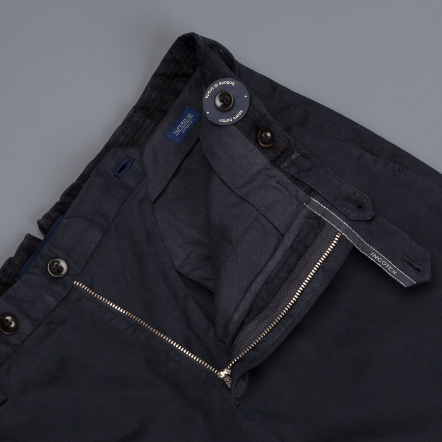 Incotex Venezia model 16 tapered fit trico chino pants Blu Scuro