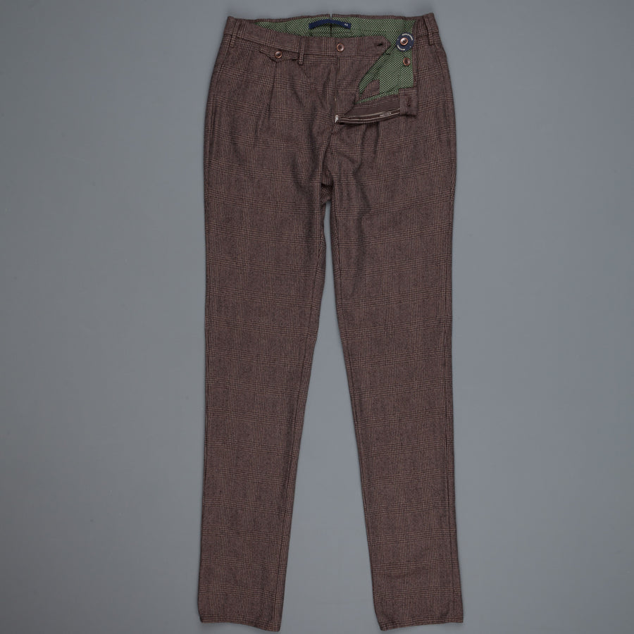 Incotex Venezia Model 30 Slim Fit pants Prince of Wales Marrone