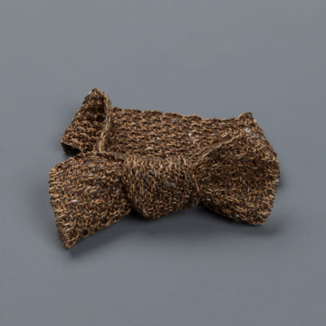Inis Meáin Moss stitch bow tie linen silk col 12