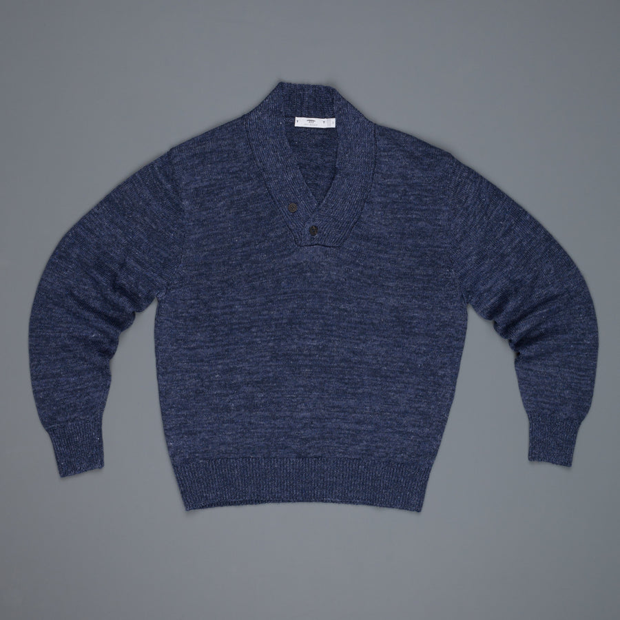 Inis Meáin Linen Donegal Sweater crossover neck Sloe
