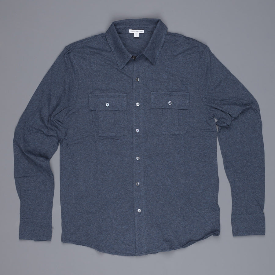 James Perse melange jersey ls button shirt Indigo