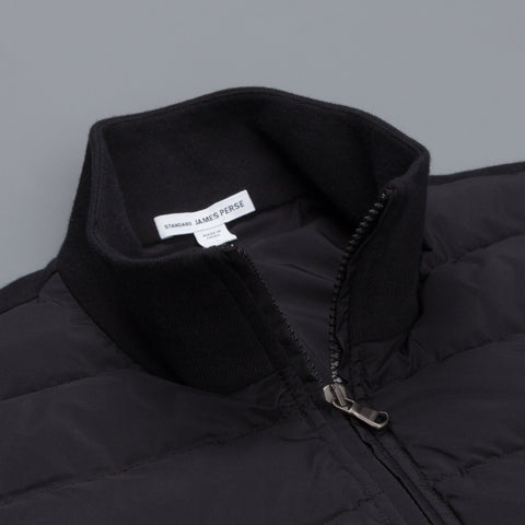James Perse Zip Front Fleece combo jacket black
