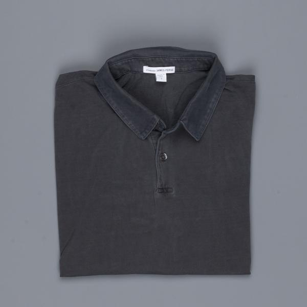 James Perse Revised standard polo Carbon Pigment