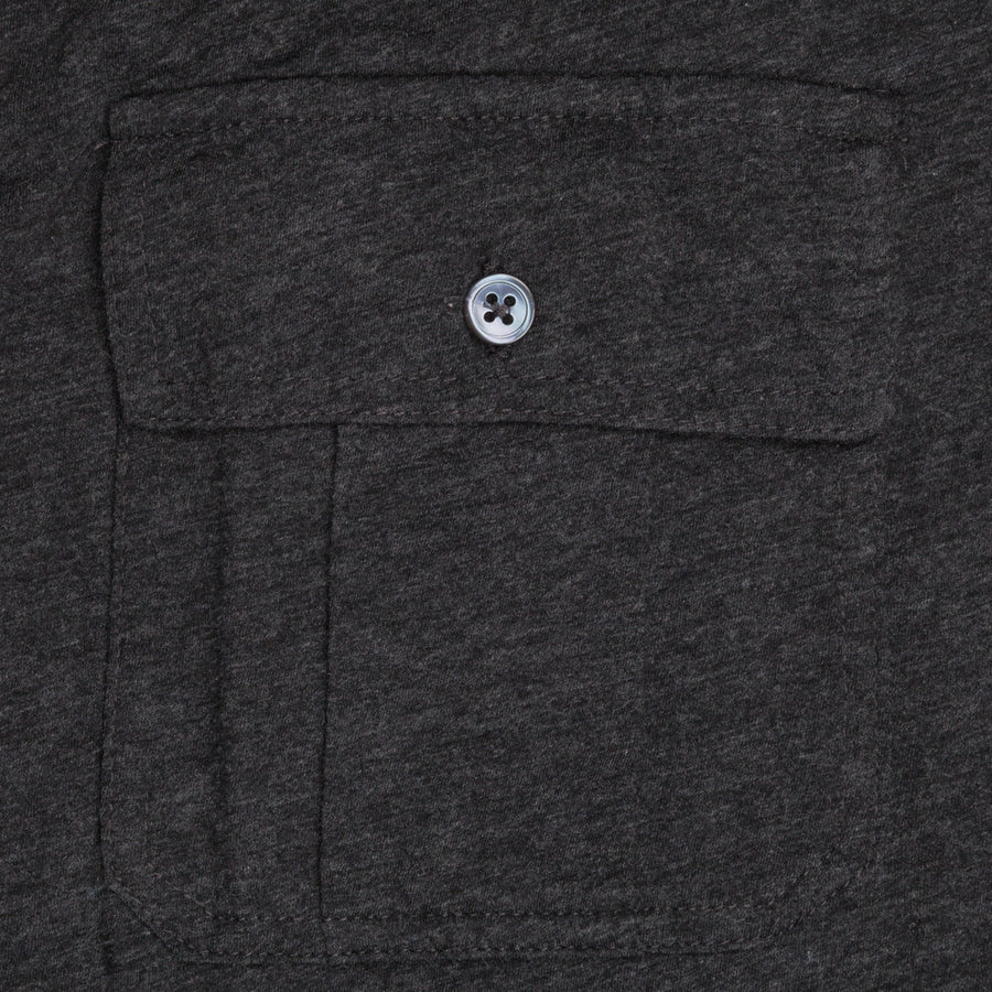 James Perse melange jersey ls button down shirt charcoal