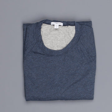 James Perse doubled melange jersey crew neck indigo heather grey