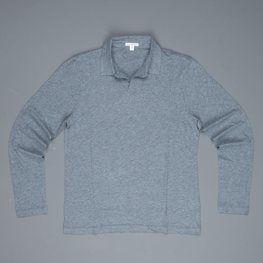 James Perse Japan Melange jersey polo l/s Dusty Blue melange