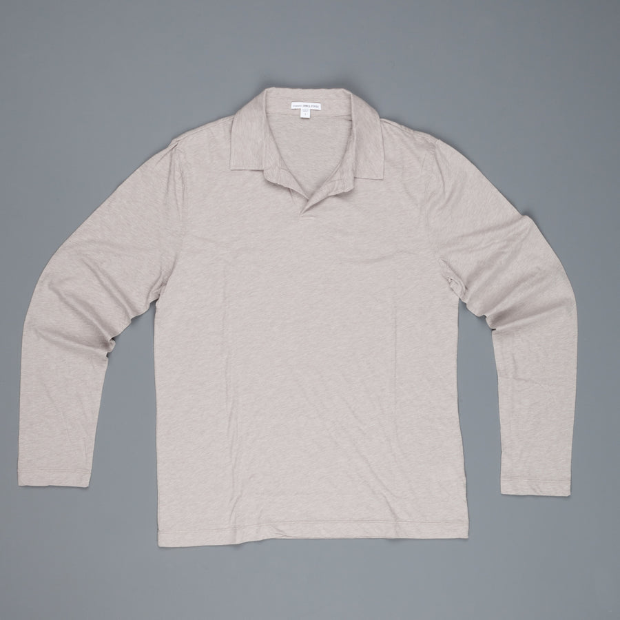 James Perse Japan Melange jersey polo l/s Stone Melange