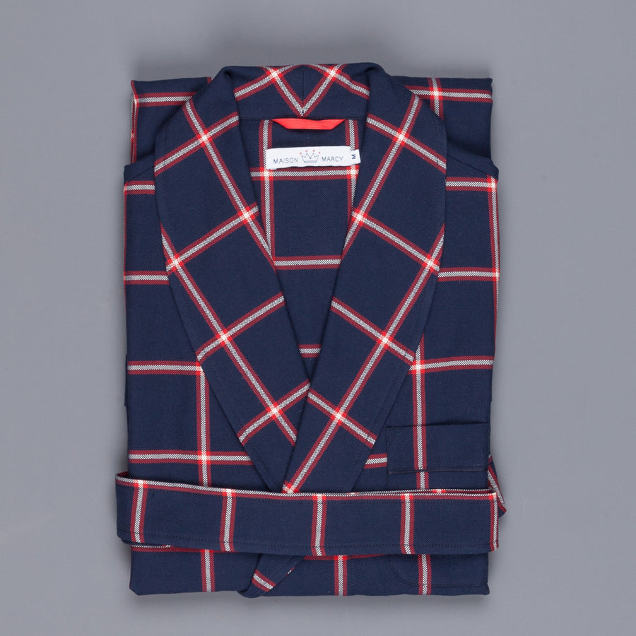 Maison Marcy oxford cotton peignoir navy windowpane