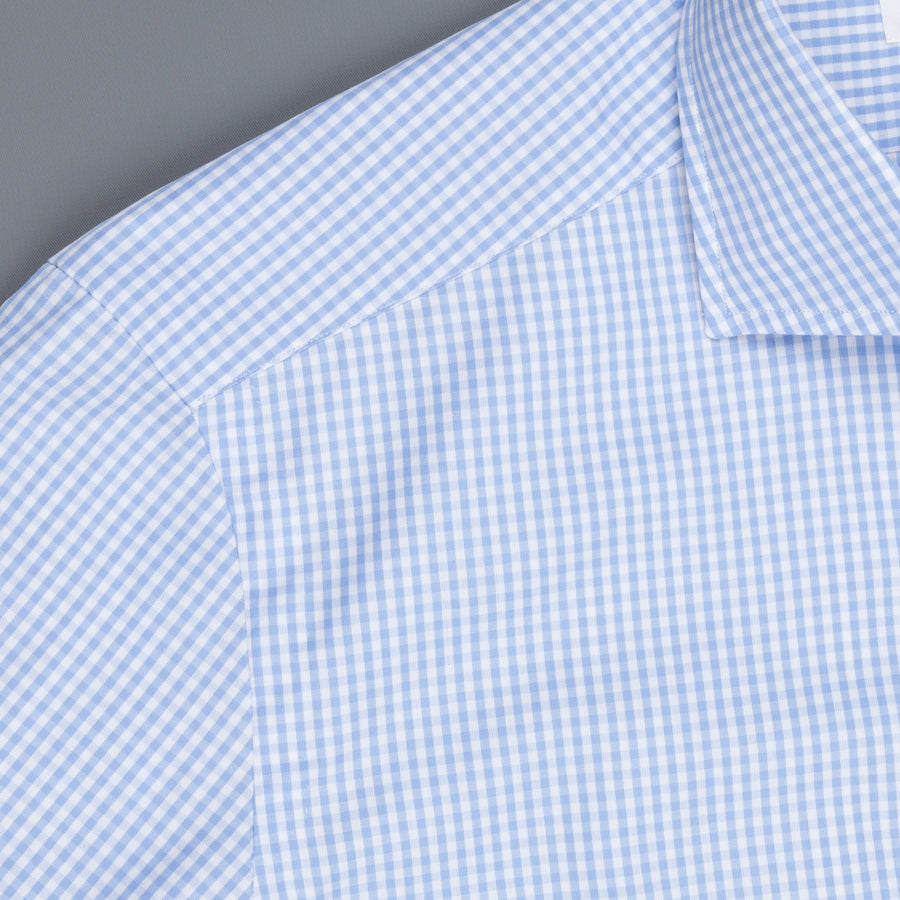 Mazzarelli x Frans Boone light Blue gingham shirt - Thomas Mason