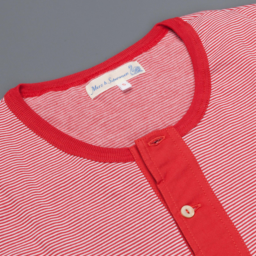 Merz B Schwanen 226 button facing shirt red white stripe