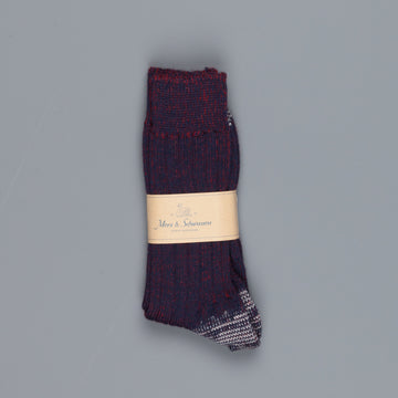 Merz B Schwanen W72 New Wool Ink Blue Red Socks