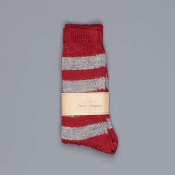 Merz b. Schwanen S76 socks virgin wool striped dark red grey melange