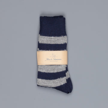 Merz b. Schwanen S76 socks virgin wool striped ink grey melange