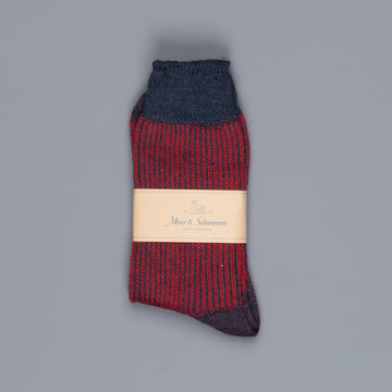 Merz b. Schwanen S77 socks virgin wool fine ripped ink dark red
