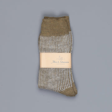 Merz b. Schwanen S77 socks virgin wool fine ripped army grey melange
