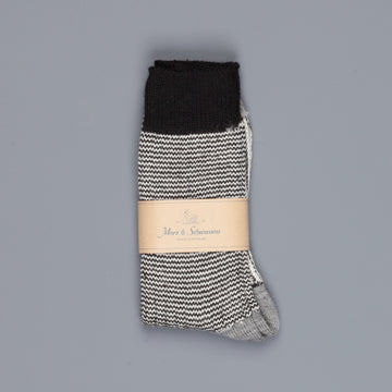 Merz b. Schwanen S73 retro sport socks virgin wool striped grey melange nature
