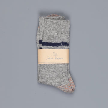 Merz b. Schwanen S75 retro sport socks virgin wool striped grey melange ink