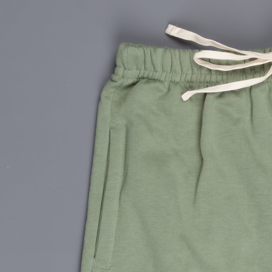 Merz B Schwanen 356 3 thread fleece sweatpants short in Light Army