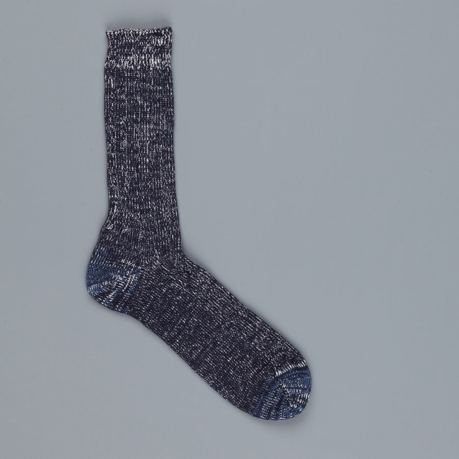 Merz B Schwanen ribbed merino wool socks dark navy nature