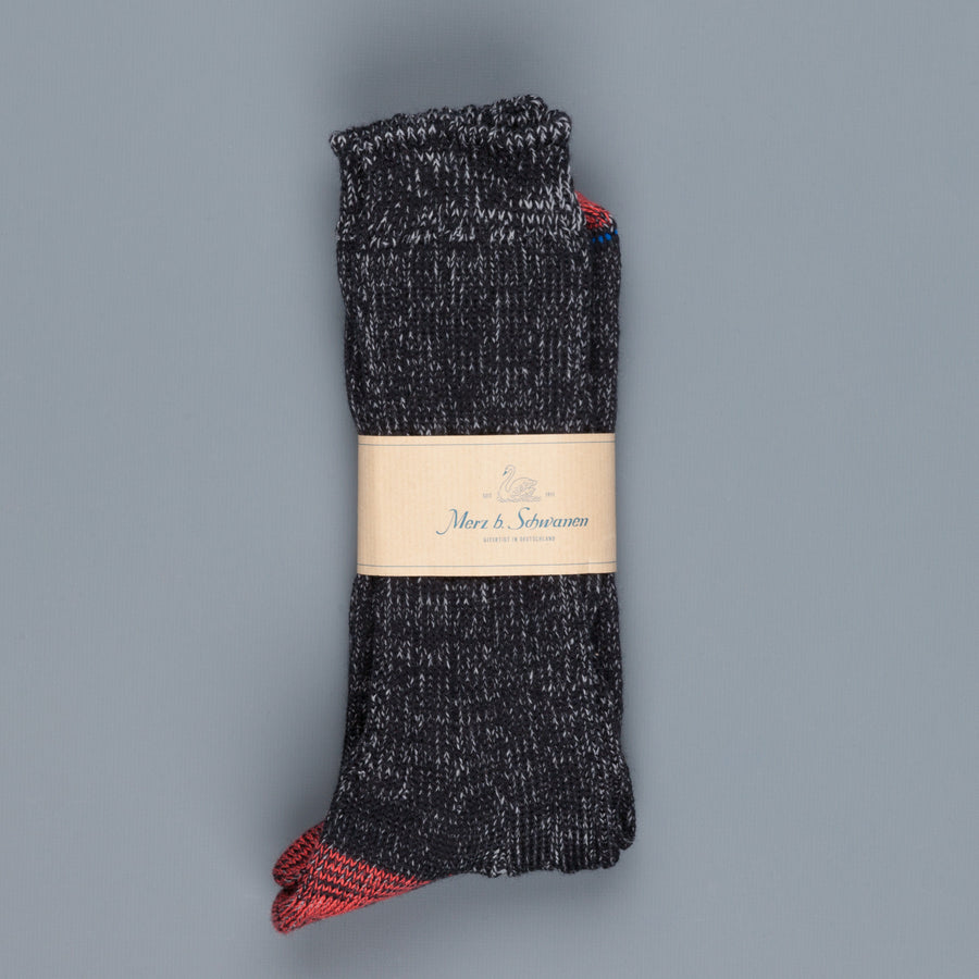 Merz B Schwanen ribbed merino wool socks Black Grey