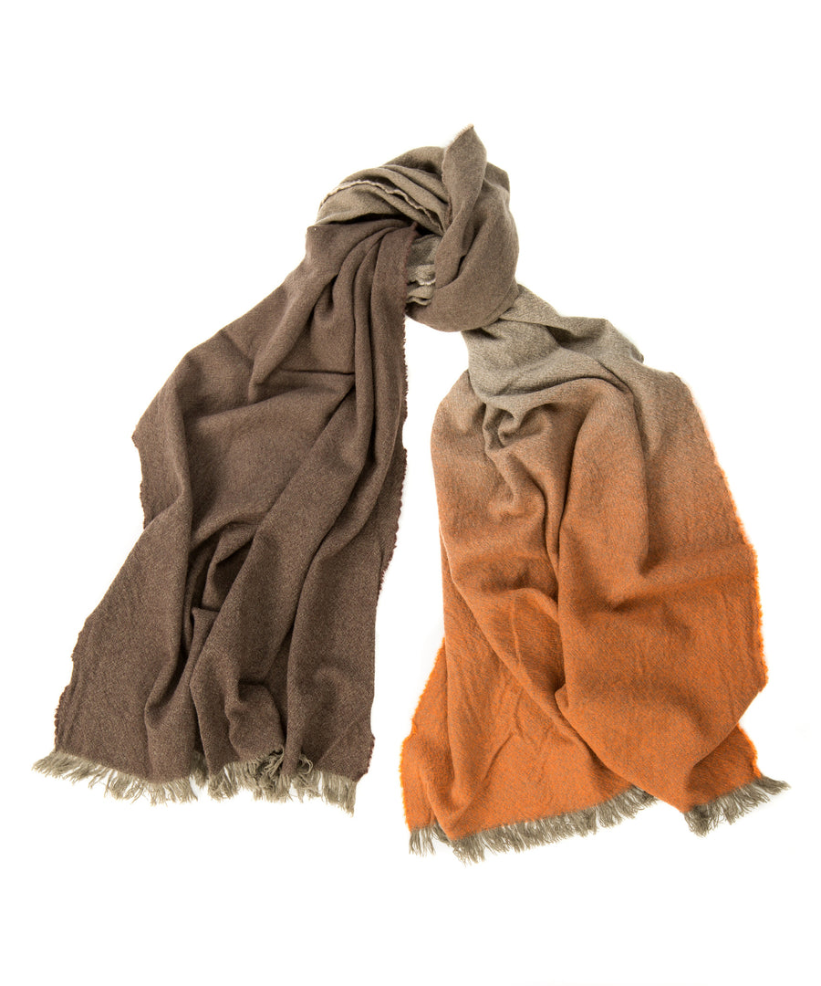 Alex Begg 100% cashmere Nuance Ombre Scarf Amber